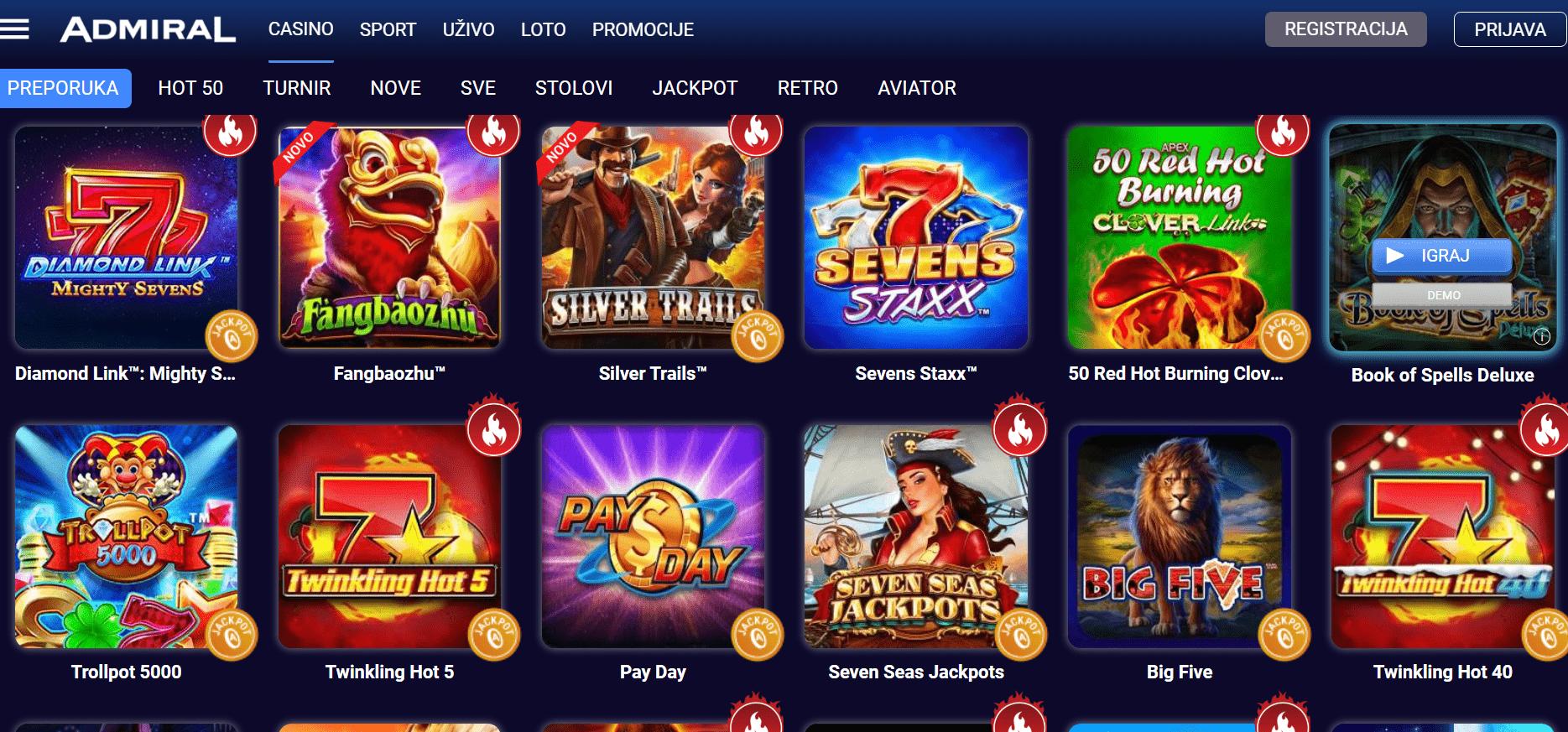 admiral casino igre