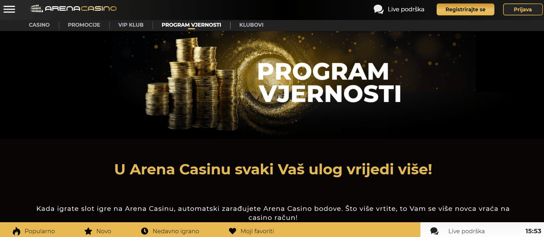 arena casino program vjernosti